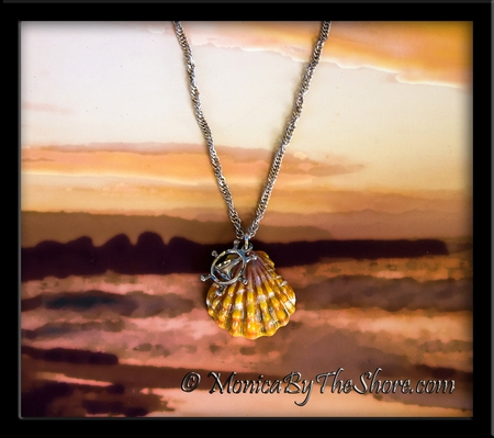 Orange & Pink Hawaiian Sunrise Shell & Sailboat Charm Twisted Sterling Silver Chain Bracelet