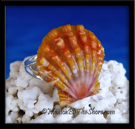 Orange Sunrise Shell Sterling Silver Ring