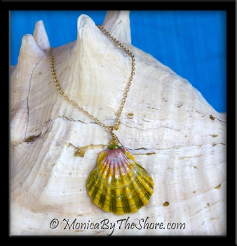 Pastel Pink Green & Gold Sunrise Shell with Peridot & Citrine Gemstones Gold Chain Necklace
