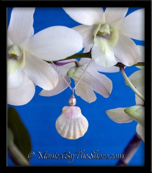 Rare Albino Pink Hawaiian Sunrise Shell Pink Cultured Pearl Sterling Silver Necklace
