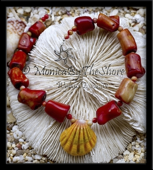 Red Coral & Hawaiian Sunrise Shell Choker Necklace