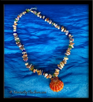 "Red Sunrise Shell ""Beach Candy With A Bite"" Seashell, Sea Glass & Sharks Teeth Necklace"