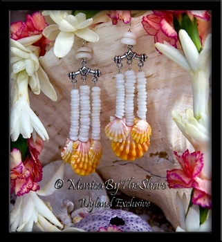 Six Hawaiian Sunrise Shell & Stacked Baby Puka Shells Earrings