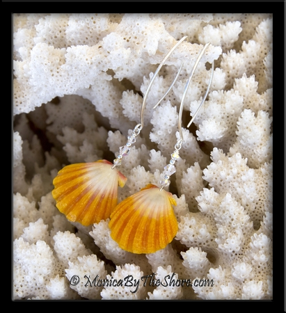 Sparkly Bright Yellow & White Hawaiian Sunrise Shells & Swarovski Crystal Longwire Earrings