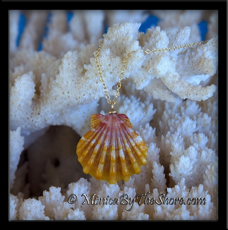 Sun-Kissed Orange and Pink Hawaiian Sunrise Shell Gold Chain Necklace