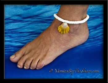 Sunrise Shell and Puka Shells Anklet