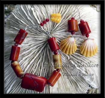 Sunrise Shell & Chunky Red Coral Bracelet Earrings Set