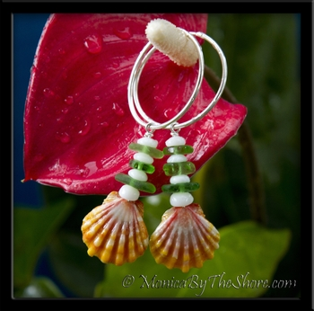 Sunrise Shell Sea Glass & Puka Shells Silver Hoop Earrings