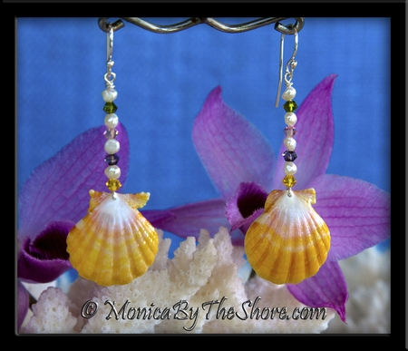 Swarovski Crystals, Freshwater Pearls and Hawaiian Sunrise Shell Earrings