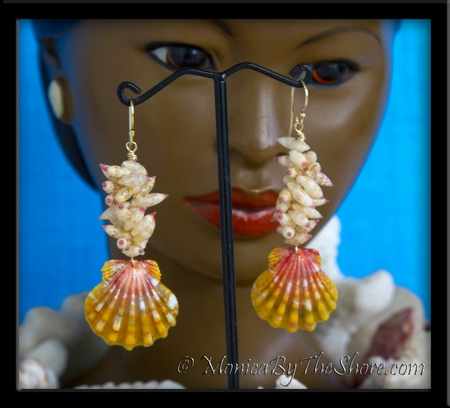 Tahitian Arutua Seashells and Hawaiian Sunrise Shell Gold Earrings with Matching Necklace Set
