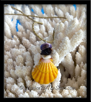 """The Haleiwa"" Extra Large Yellow Sunrise Shell, Seashell & Puka Shells Necklace"