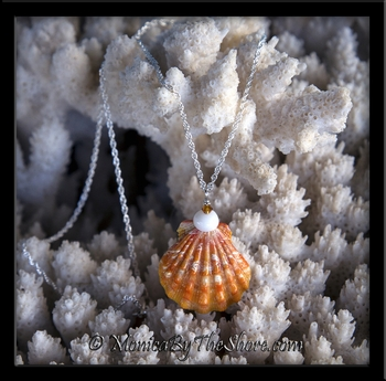"""Town and Country"" Style Bright Orange Hawaiian Sunrise Shell Puka Shell and Crystal Necklace"