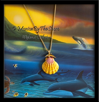 Wyland & MonicaByTheShore Collaboration 14K Gold Dolphin Cuddles Hawaiian Sunrise Shell
