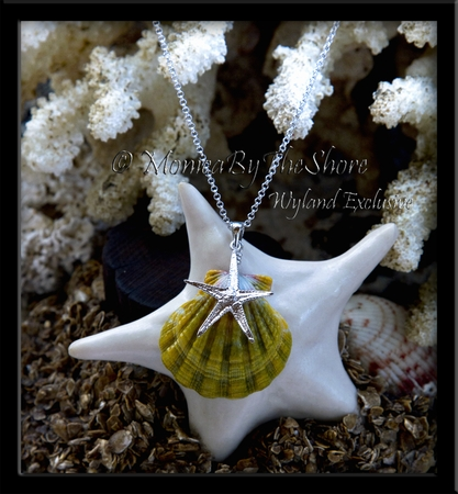 Wyland & MonicaByTheShore Collaboration Silver Starfish & Moonrise Shell Necklace