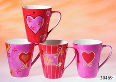 Amore' Coffee, Hot Chocolate or Tea Mug - Pink, Gold, Red