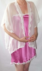 Anna White Silk Chiffon Reading Jacket w Lace Trim - Made in NYC