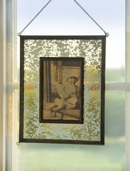 Antique Amber Mercury Glass Hanging Photo Frame