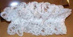 Jasmine Bridal Garter - Beaded Bridal Lace & Satin - White