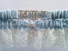 Bride Blue & White Lace & Rhinstone Garter Set