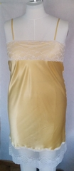 Buttery Yellow Silk Chemise, Long Nightgown with French Lace