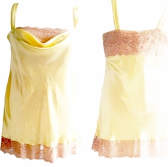 Emma Luxury Handmade Silk Chemise with Luxury French Lace Trim Made in USA by Pampour Couture