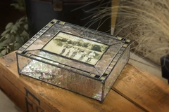Earthy Greens & Clear Seedy Glass Art Photo Box