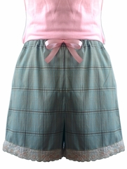 French Short Teal Plaid with Floral Embroidery Trim