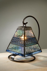 Iridized Mini Glass Art Lamp - Clear & Pale Blue