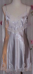 Jane Woolrich Pale Silver Night Slip and Robe with French Calais Lace