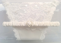Jasmine Bridal Garter & Thong Set - White Satin & Bridal Lace