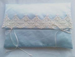 Juliana Blue Satin and Lace Lingerie Case/Pouch