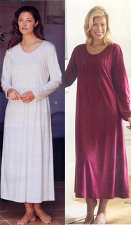 Ceril Soft Cotton Knit Pintuck Long Sleeve Nightgown - Made in Italy