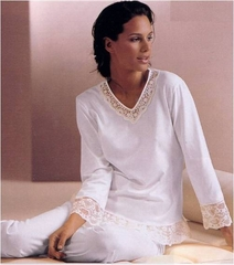 Pretty Long Sleeve Cotton Knit and Lace Pajama Set - Made In Italy