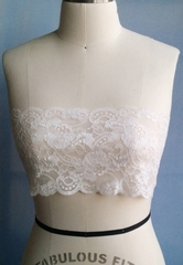Rachelle - Luxury Handmade Floral French Lace Bandeau - White - Made in USA by Pampour Couture