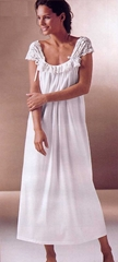 Sexy Gauzy Lace Cotton Knit Nightgown - Cream - Made In Italy