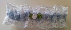 Pampour Silk Bridal Garter Something Blue Keepsake - Silk w Vintage French Lace