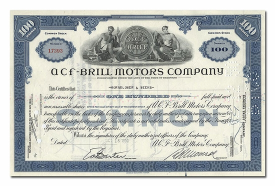 ACF-Brill Motors Company, Issued to Hornblower & Weeks