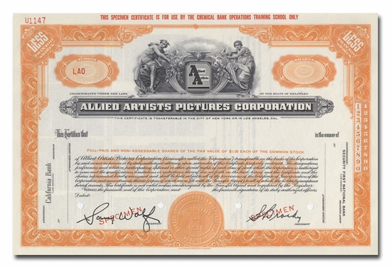 Allied Artists Pictures Corporation (Specimen)
