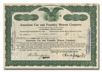American Car and Foundry Motors Company, Issued to Hornblower & Weeks