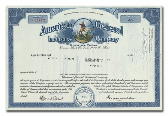 American General Insurance Company, Issued to Kidder Peabody