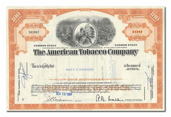 American Tobacco Company, Issued to Bache & Co.