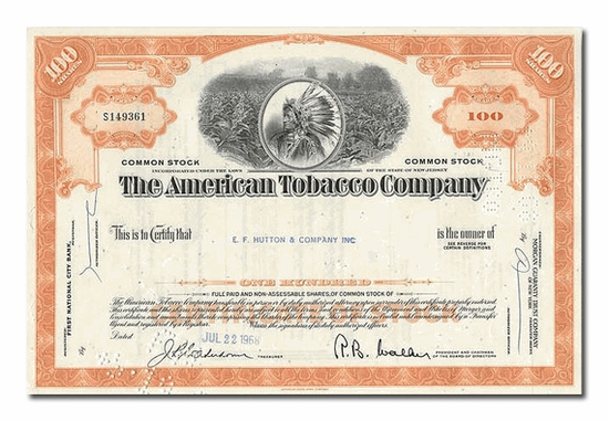 American Tobacco Company, Issued to EF Hutton