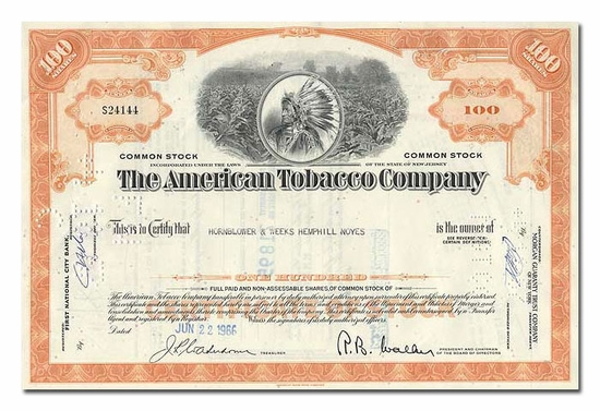 American Tobacco Company, Issued to Hornblower & Weeks Hemphill Noyes