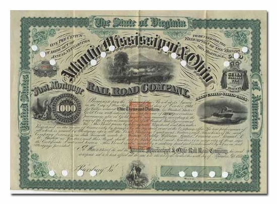 Atlantic, Mississippi & Ohio Railroad Company (Signed by William Mahone)