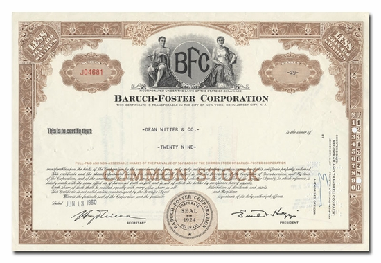 Baruch-Foster Corporation, Issued to Dean Witter & Company