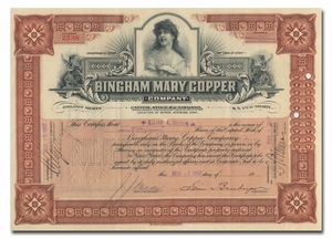 Bingham Mary Copper Company, Signed by Simon Bamberger