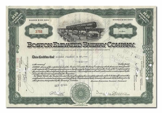Boston Elevated Railway Company, Issued to Kidder Peabody