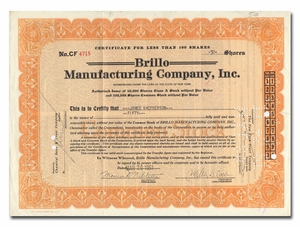 Brillo Manufacturing Co., Inc., Signed by Milton Loeb, Inventor