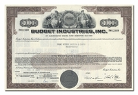Budget Industries, Inc., Issued to Paine Webber, Jackson & Curtis