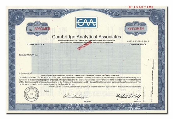 Cambridge Analytical Associates (Specimen)